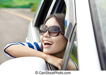 bello, donna macchina, seduta