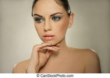 bello, donna sana, giovane, faccia