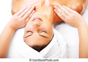 bello, donna sorridente, massage., prendere