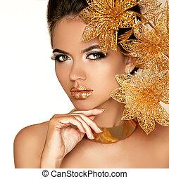 bello, dorato, donna, arte, bellezza, face., flowers., makeup., skin., moda, make-up., perfetto, professionale, ragazza, modello