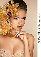 bello, dorato, donna, arte, bellezza, face., photo., flowers., makeup., skin., moda, make-up., perfetto, professionale, ragazza, modello