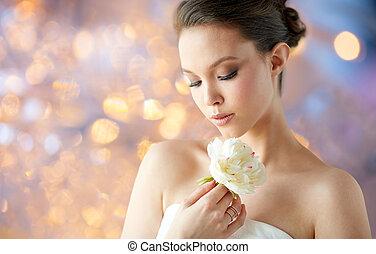 bello, dorato, donna, fiore, asiatico, anello