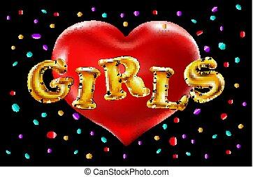 bello, dorato, heart., oro, fondo., lancio, festa., ragazze, festeggiare, vettore, coriandoli, divertimento, baluginante, detenere, rosso, palloni
