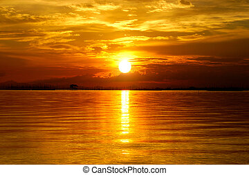 bello, dorato, nubi, sky., tramonto, twilight.