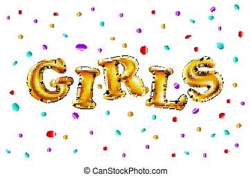 bello, dorato, oro, fondo., lancio, festa., ragazze, festeggiare, vettore, coriandoli, divertimento, baluginante, detenere, palloni