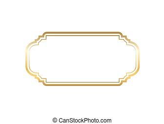bello, dorato, oro, semplice, cornice, disegno