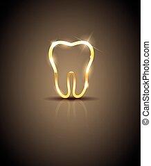 bello, dorato, silhouette, illustrazione, dente, baluginante