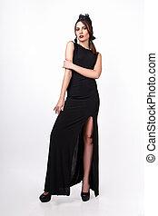 bello, dress., giovane, lungo, donna, sfondo nero, ritratto, bianco, moda
