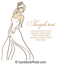 bello, dress., illustrazione, sposa, vettore, matrimonio, bianco