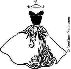 bello, dress., silhouette, isolato, elegante, vettore
