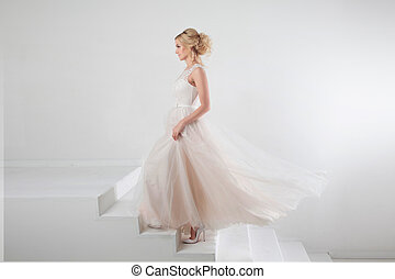 bello, dress., spazio, libero, fondo, destra, sposa, ritratto sposa, ragazza, bianco