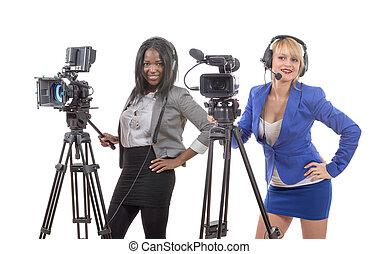 bello, due, giovane, macchina fotografica, video, professionale, donne