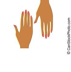 bello, due, vettore, femmina porge, manicure., rosso