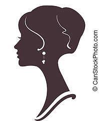 bello, elegante, acconciatura, silhouette, ragazza
