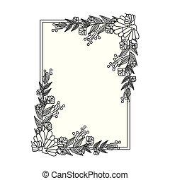 bello, elegante, cornice, fiori, mette foglie