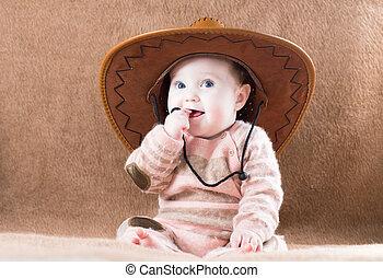 bello, enorme, poco, cowboy, ragazza, cappello