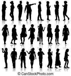 bello, equipaggia, illustration., womans, fondo.,...