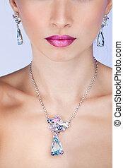 bello, esclusivo, acconciatura, moda, jewelry., trucco, fascino, proposta, ritratto, professionale, modello