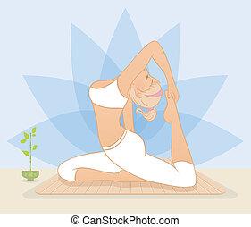 bello, esercizi, donna, yoga