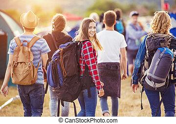 bello, estate, adolescenti, festival