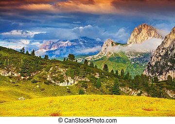 bello, estate, alpi, dolomiti, sud, paesaggio, italiano
