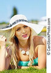 bello, estate, donna, cappello, vacanza