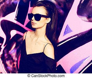 bello, estate, esterno, yong, parco, t-shirt, moda, femmina nera, sexy, portrait., ragazza, glasse, modello, estremo