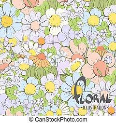 bello, estate, fiori, fondo
