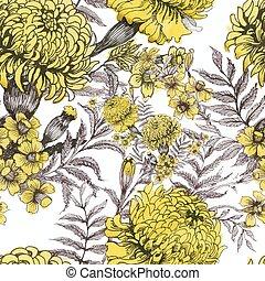 bello, estate, giardino, pattern., seamless, acquarello, azzurramento, fiori