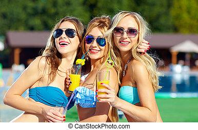 bello, estate, ragazze, divertimento, festa, detenere