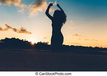 bello, estate, silhouette, isola, aria, sabbia, saltare, mani, ritratto, ragazza, bianco, esotico, sunset.
