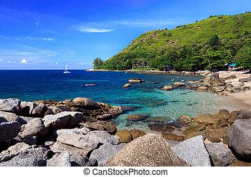 bello, estate, spiaggia,  Phuket, Tailandia