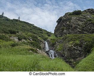 bello, estate, tatras, ziarska, montagna, sarafiovy, paesaggio, chata, cascata, slovacchia, occidentale, vodopad, dolina, valle, montagne