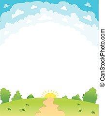 bello, estate, vettore, paesaggio, illustrazione