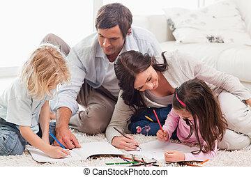 bello, famiglia, disegno, insieme