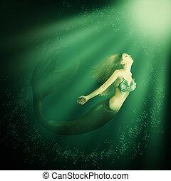 bello, fantasia, coda, donna, sirena