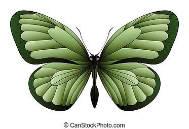 bello, farfalla, bianco, isolato, fondo