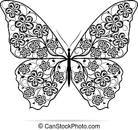 bello, farfalla, con, floreale, pattern.