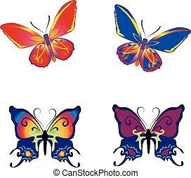 bello, farfalla, sfondo bianco, collezione