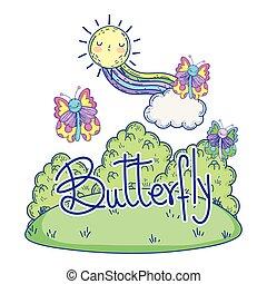 bello, farfalla, sole, arcobaleno