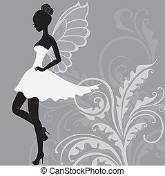 bello, fata, silhouette