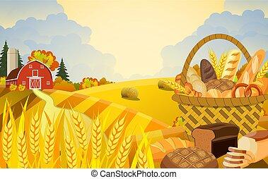 bello, fattoria, cadere, scena, cartone animato