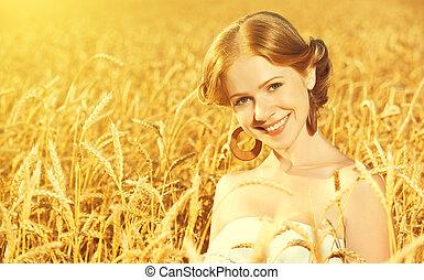 bello, felice, ragazza, in, campo frumento, in, estate