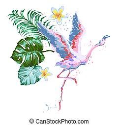bello, fenicottero rosa, foglie volatrici, fiore, plumeria, tropico, composizione