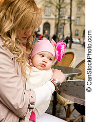 bello, figlia, lei, parigino, giovane, strada, madre, bambino, caffè