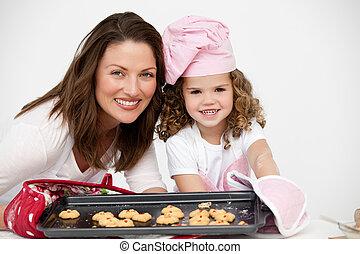 bello, figlia, piastra, presa a terra, madre, biscotti
