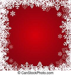 bello, fiocchi neve, frame., vettore, festivo, fondo.