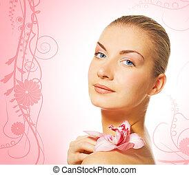 bello, fiore, biondo, astratto, isolato, fondo, floreale, ragazza, orchidea