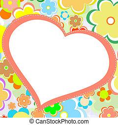 bello, fiore, heart., luminoso, vettore, scheda