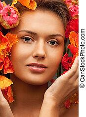bello, fiori, donna, rosso